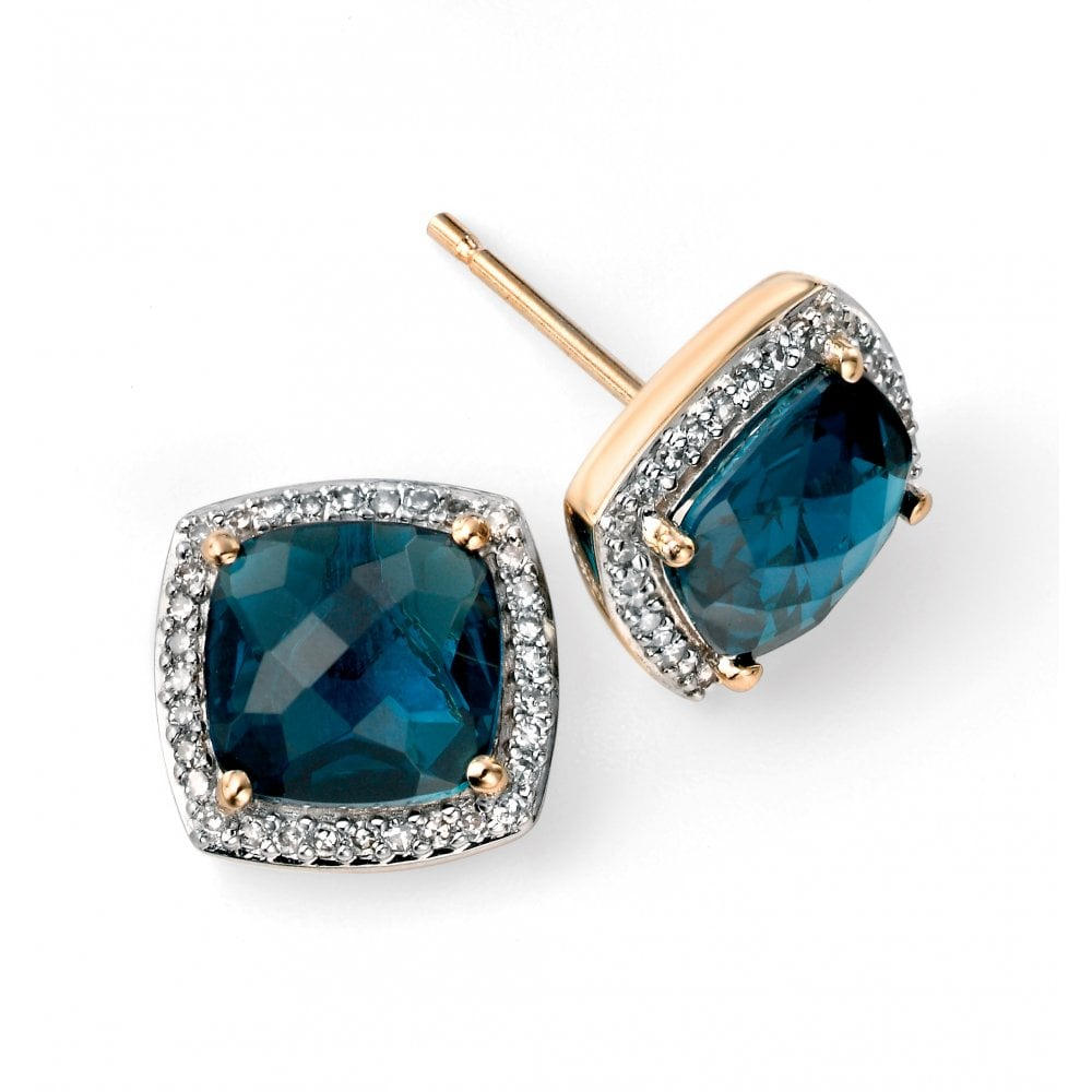9ct Yellow And White Gold London Blue Topaz Diamond Studs