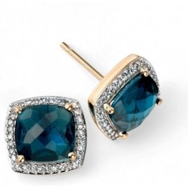 9ct yellow and white gold London Blue Topaz and Diamond studs
