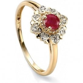 9ct yellow gold 4 diamond and 1 ruby flower