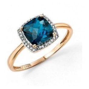 9ct yellow gold Blue Topaz and Diamond cluster ring