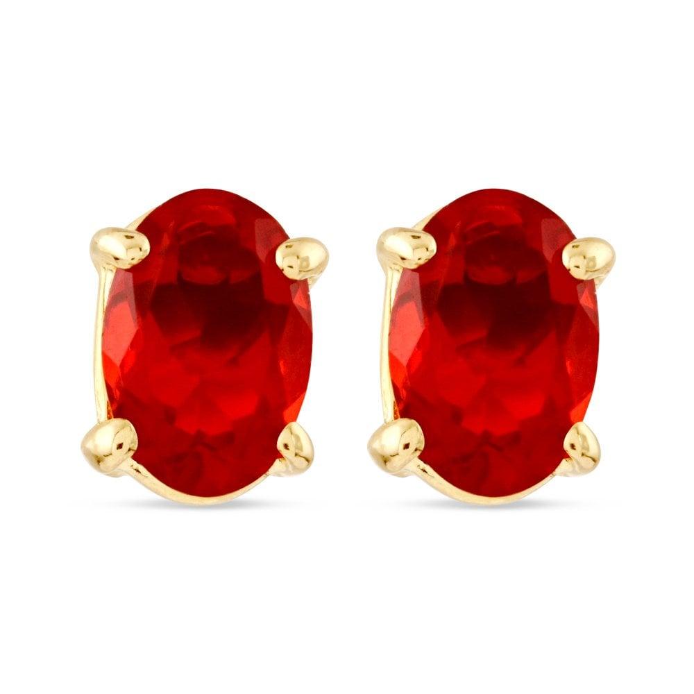 9ct Yellow Gold Fire Opal Stud Earrings