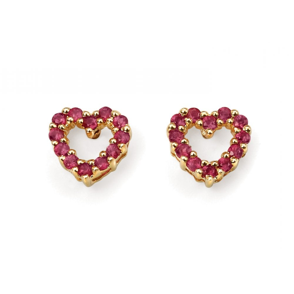 6a4214d63 Dipples Dipples 9ct Yellow Gold Heart Shaped Ruby Set Earrings ...
