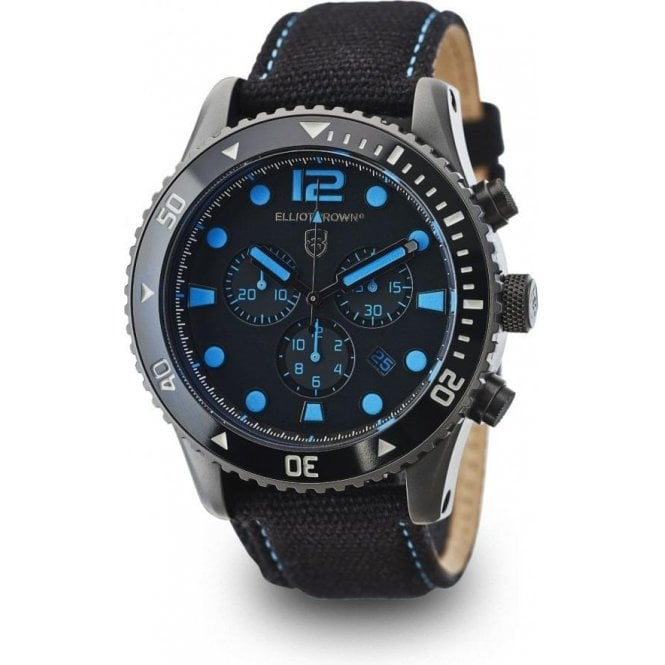 Elliot Brown Bloxworth black dial and blue strap chronograph watch