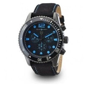 Bloxworth black dial and blue strap chronograph watch