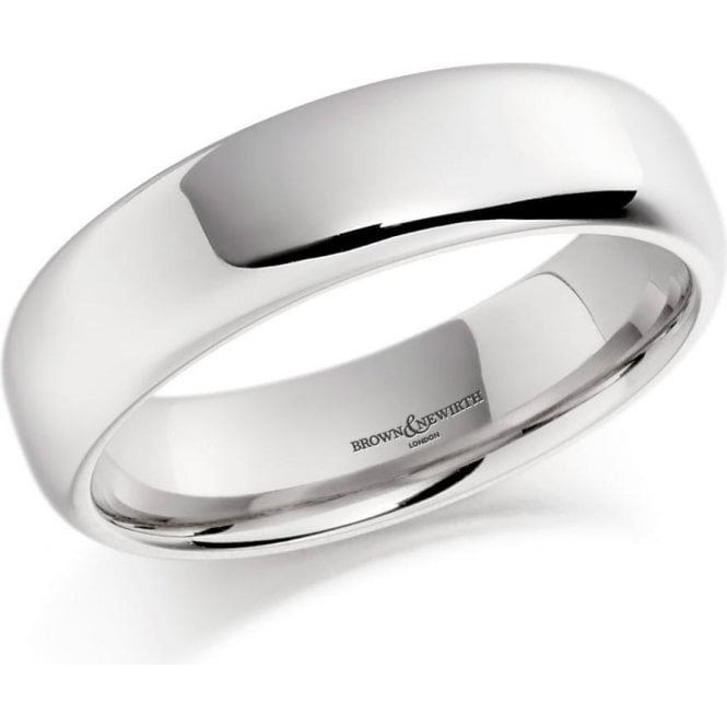 Brown & Newirth 14ct white gold 6mm softened flat court band