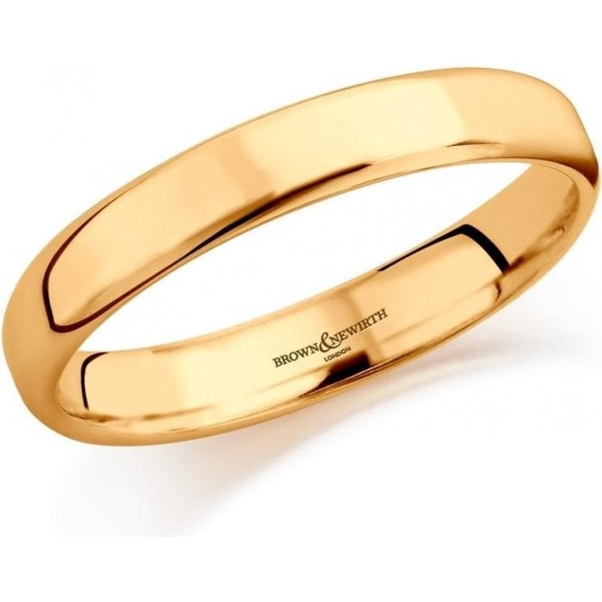 Brown & Newirth 14ct yellow gold 4mm softened flat court band