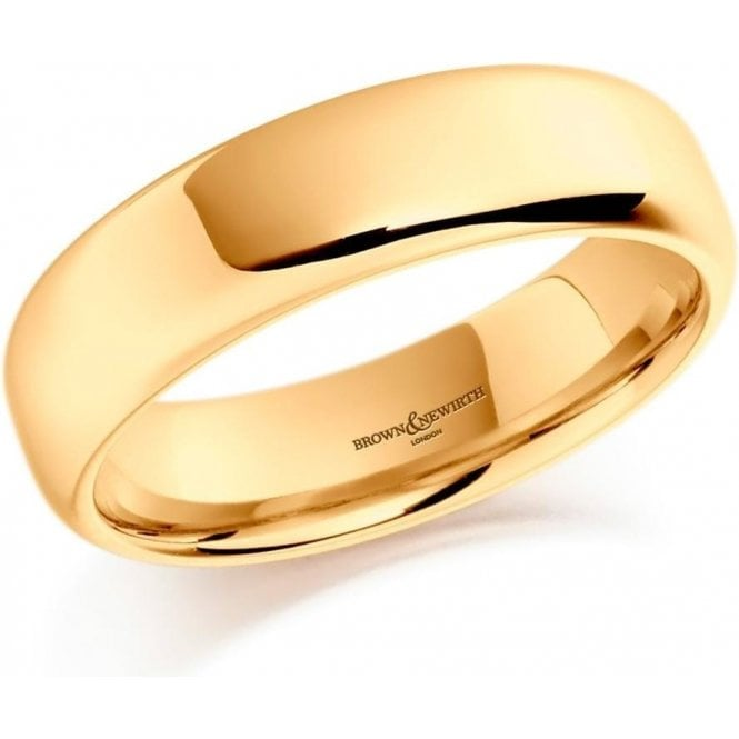 Brown & Newirth 14ct yellow gold 6mm softened flat court band