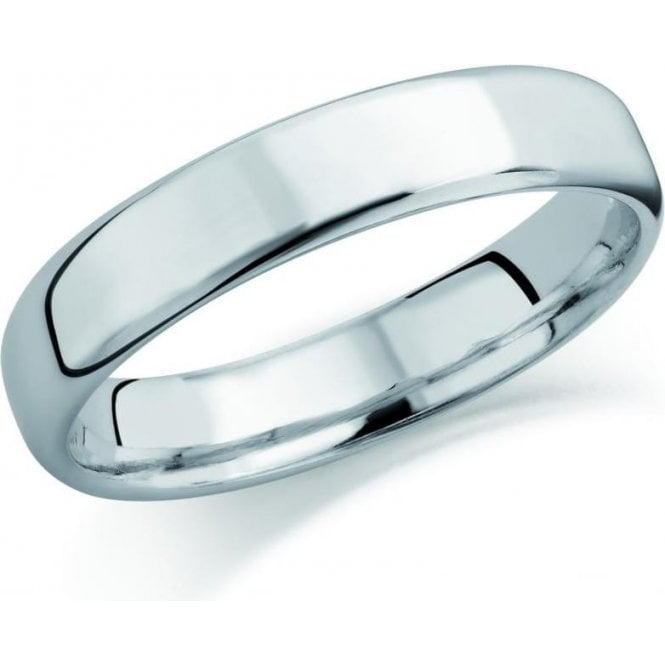 Brown & Newirth 18ct white gold 4mm softened flat court band