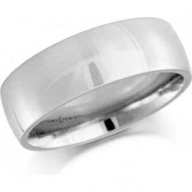 18ct white gold 6mm low domed court band