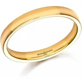 22ct yellow gold 3mm low domed court band