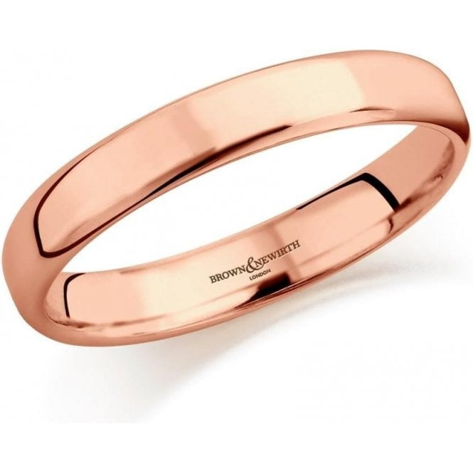 Brown & Newirth 9ct rose gold 3mm softened flat court band