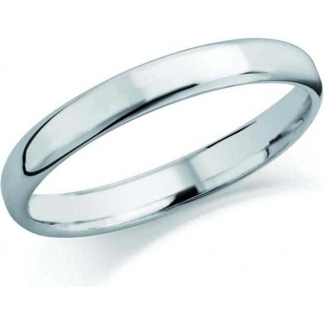 Brown & Newirth 9ct white gold 2mm softened flat court band