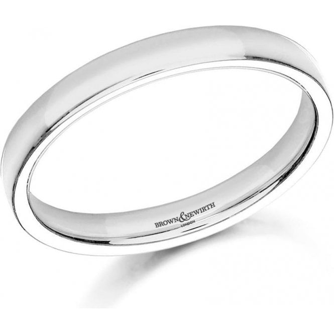 Brown & Newirth 9ct white gold 3mm low domed court band