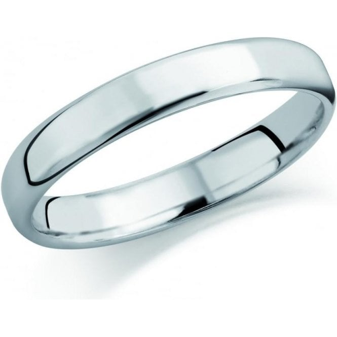 Brown & Newirth 9ct white gold 3mm softened flat court band