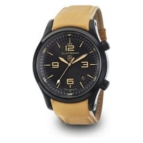 Canford black dial beige strap watch