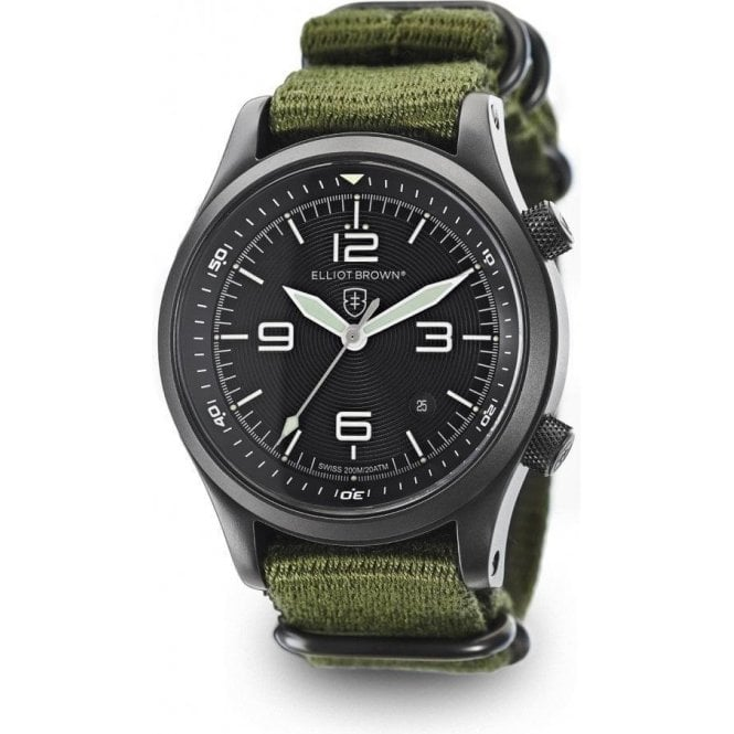 Elliot Brown Canford black dial canvas military styled strap watch