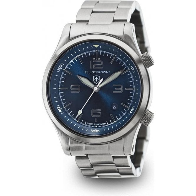 Elliot Brown Canford blue dial stainless steel bracelet watch