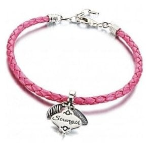 Charm on Pink braided leather bracelet - Breast cancer LTD gift