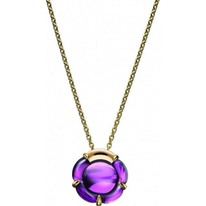 Baccarat circular purple coloured crystal pendant with fitted chain