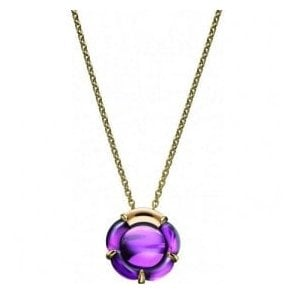 circular purple coloured crystal pendant with fitted chain