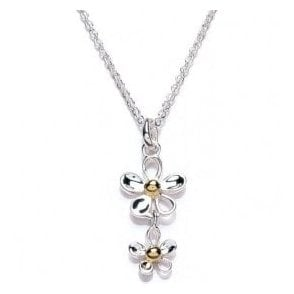 Double Daisy Drop Necklace