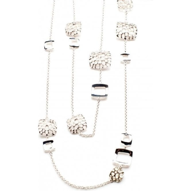 Rachel Galley Deco Long Line Silver Necklace