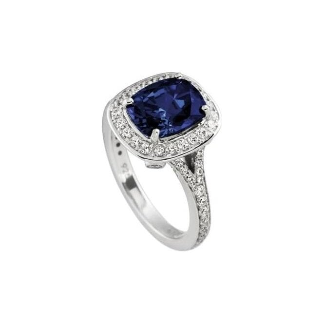 Diamonfire Blue and Clear CZ Cluster Ring