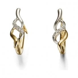 18ct Yellow and White Gold Diamond Set 'Huggy' Hoop Earrings