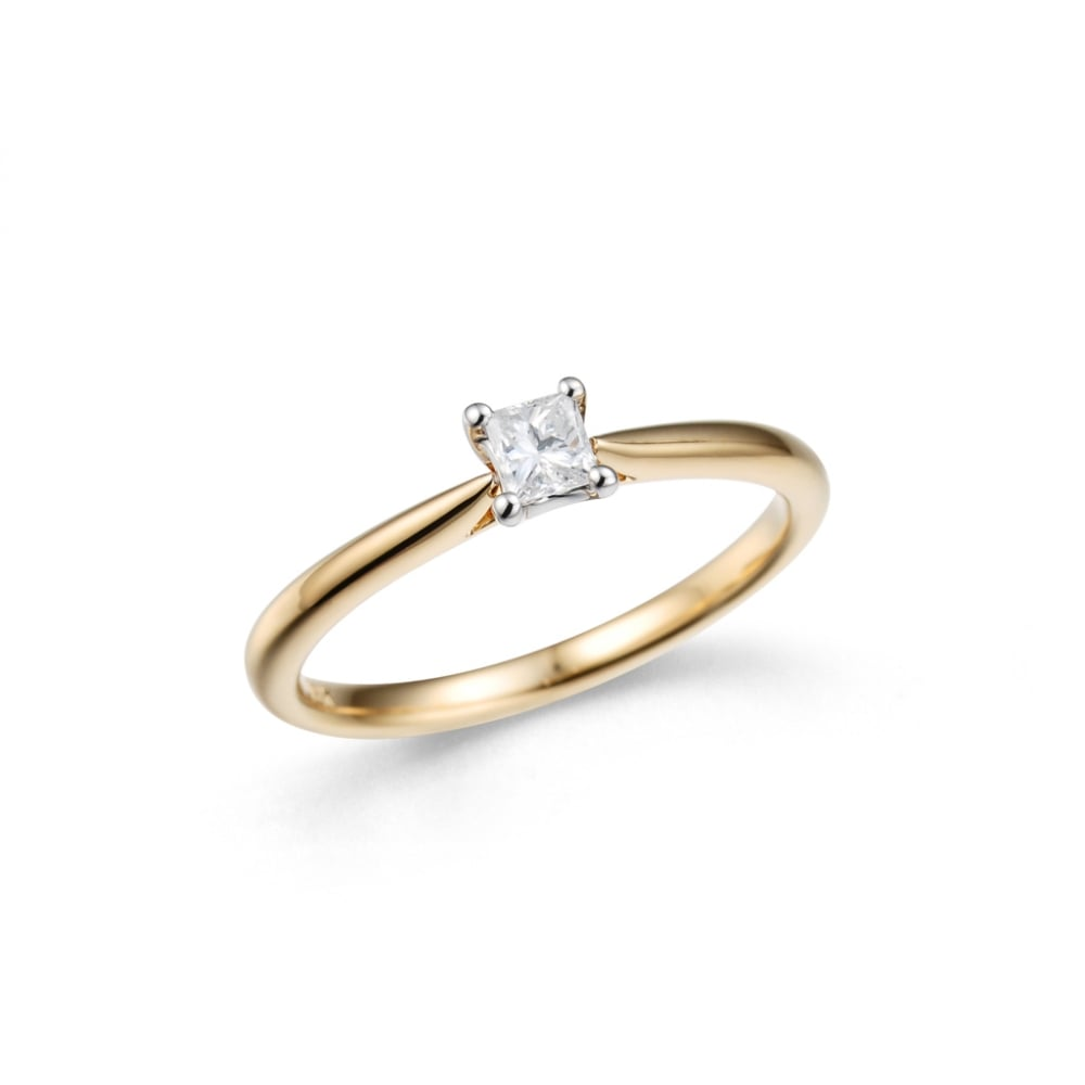 795b8f044b4ae Dipples 18ct yellow and white gold Solitaire Princess Cut Diamond Ring