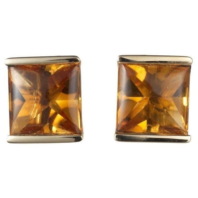 Dipples 18ct Yellow Gold Square 1/2 Bezel Set Citrine Earrings