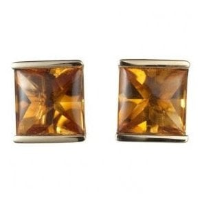 18ct Yellow Gold Square 1/2 Bezel Set Citrine Earrings