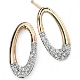 9ct yellow and white gold Diamond set oval drop earrings