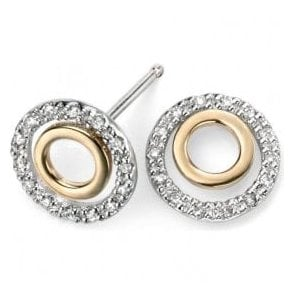 Dipples 9ct yellow and white gold diamond set round stud earrings