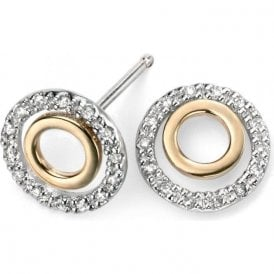 9ct yellow and white gold diamond set round stud earrings