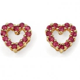 9ct Yellow Gold Heart Shaped Ruby Set Earrings