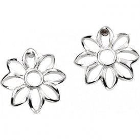 Silver open design floral earrings.