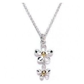 Double Daisy Drop Necklace