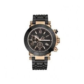 Gentleman's black and rose pvd quartz chronograph Gc watch.