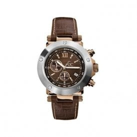 Gentleman's steel and rose pvd quartz chronograph Gc watch.