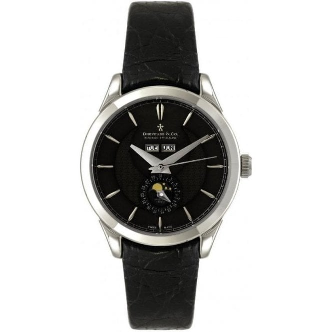 Dreyfuss & Co Gents 1925 Series Black Dial Moonphase Automatic Watch