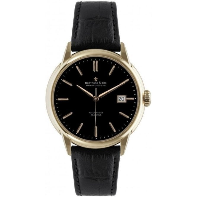 Dreyfuss & Co Gents 1925 Series Rose PVD Black Dial Automatic Watch