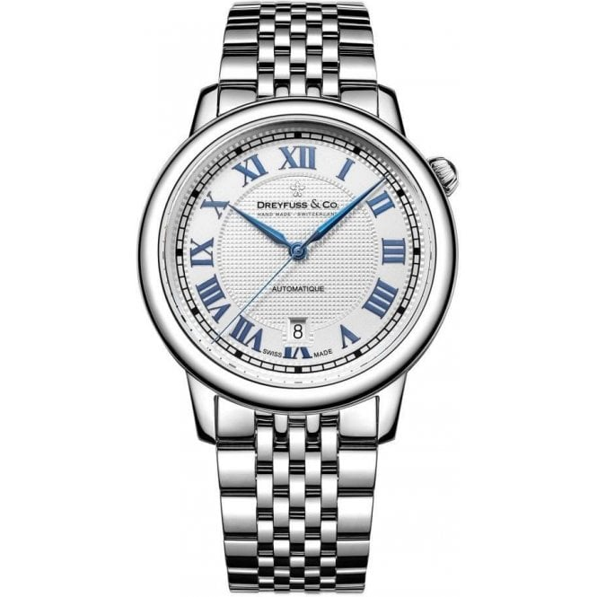 Dreyfuss & Co Gents 1925 Series Silver and Blue Dial Automatic Watch