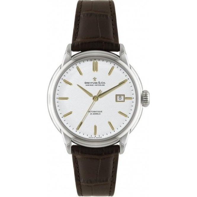 Dreyfuss & Co Gents 1925 Series Silver Dial Brown Strap Automatic Watch
