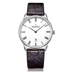 Gents 1980 Series White Dial Black Strap Quartz Watch