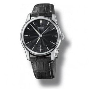 Gents Artelier Black Dial Black Leather Strap Automatic Watch