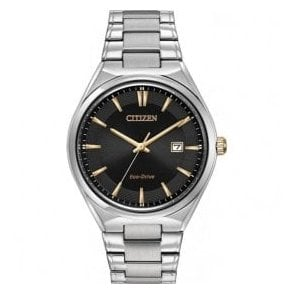 Gents Black Dial Bracelet Eco Drive Watch