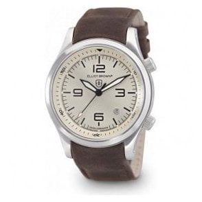 Gents Canford white dial strap watch