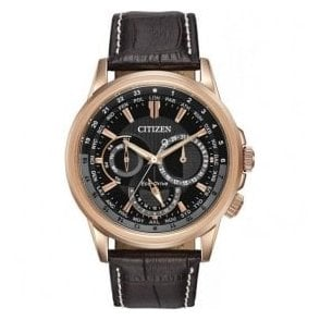 Gents Citizen Calendrier Rose PVD and Leather Strap Watch