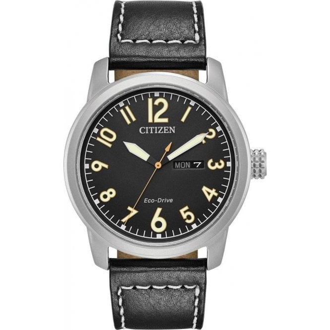 Citizen Gents Citizen Chandler Eco Drive Black Leather Strap Watch