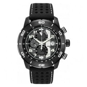 Gents Citizen Primo Black Leather Strap Watch